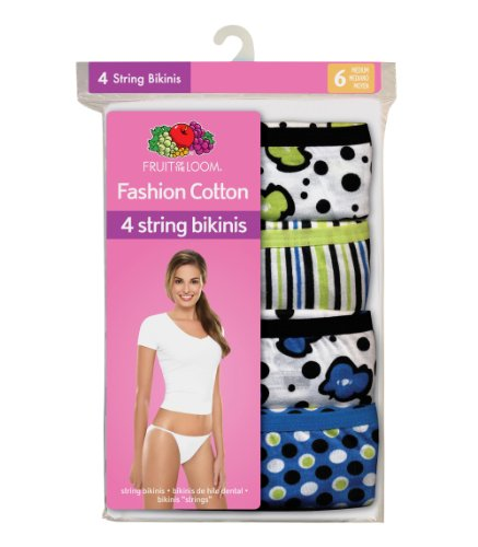 836cd51ff4 Fruit of the Loom Women s 4-Pack Cotton Fashion String Bikini Panties  073