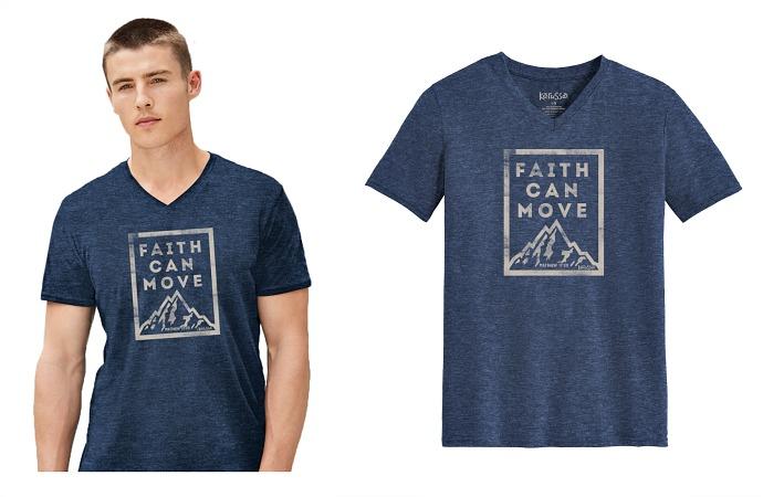 #199-FM Faith Can Move V-Neck T-SHIRT - $1.90 each(12 pieces)