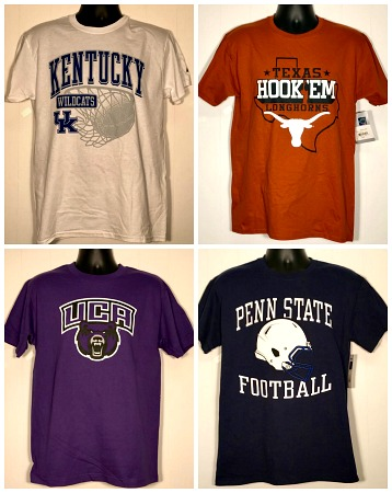 #202-CPN Closeout! Men's College Printed T-SHIRTs - $1.25 each(72 pcs)