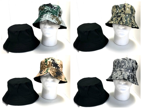 #9H-24172 Camo Reversible FISHING Hat - $1.75 each(24 pieces)