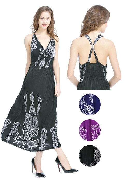 #575-3348 Long DRESS With Cross Back S-XL - $5.50 - each (12 pcs)