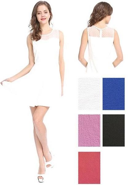 #575-3614 Mesh Top Flared Short DRESS S-XL - $7.50 each (12 pcs)