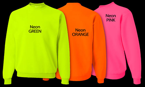 Neon colored hoodies