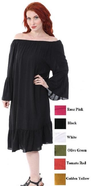 #575-3870 Rayon Midi DRESS Solid Color S-XL - $7.40 each (12 pcs)