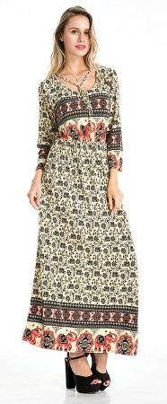 #575-3901 NEW! Long Sleeve Maxi Dress - Sizes S-M-L-XL - $6.50 each (12 pieces)