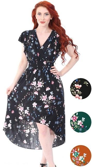 #575-3933 Short Sleeve High/Low Maxi DRESS S-XL - $6.25 each (12 pcs)
