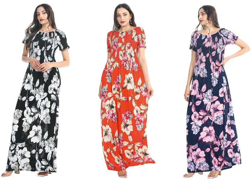 #575-3935-89 Rayon Floral Maxi DRESS S-XL - $6.60 each (12 pcs)