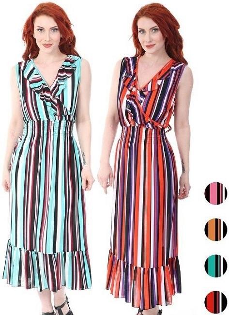 #575-3942 Striped Maxi DRESS S-XL - $6.40 each (12 pcs)