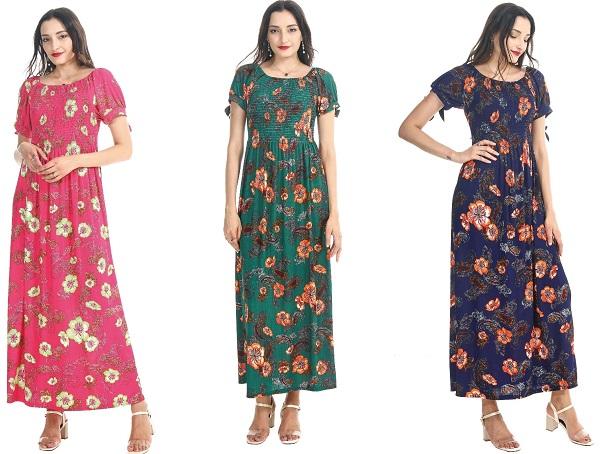 #575-3999XX Floral Short Sleeve Smock DRESS 1X-3X $7.25 each (12 pcs)