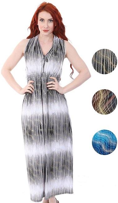 #575-4003 Tie Front V-Neck Maxi DRESS S-XL - $6.50 each (12 pcs)