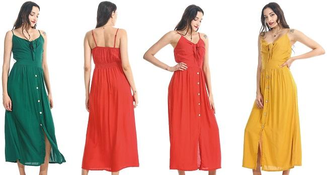 #575-4022 Tie Front Solid Color Maxi DRESS S-XL - $6.90 each (12 pcs)