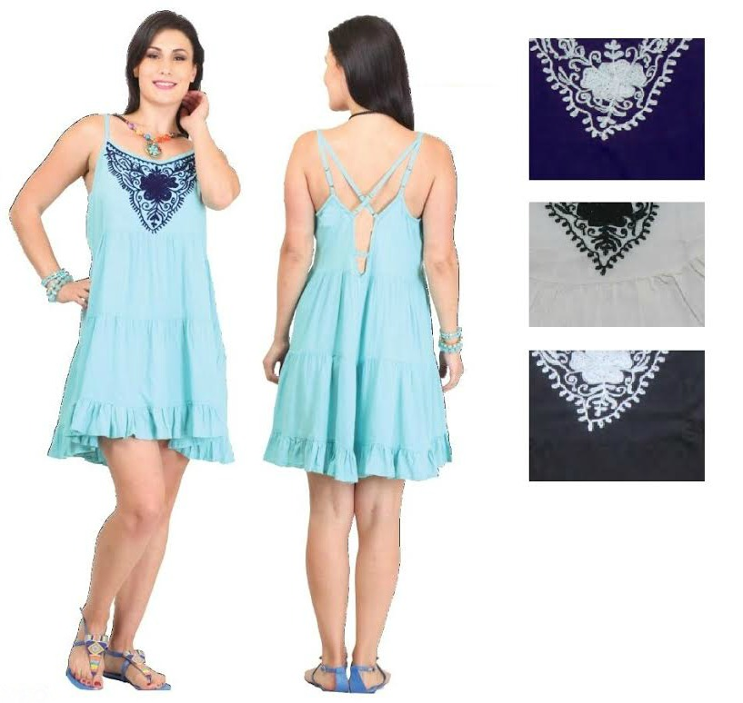 #575-5018 NEW! Rayon Sundress With Embroidery - $7.25 each(4 pieces)