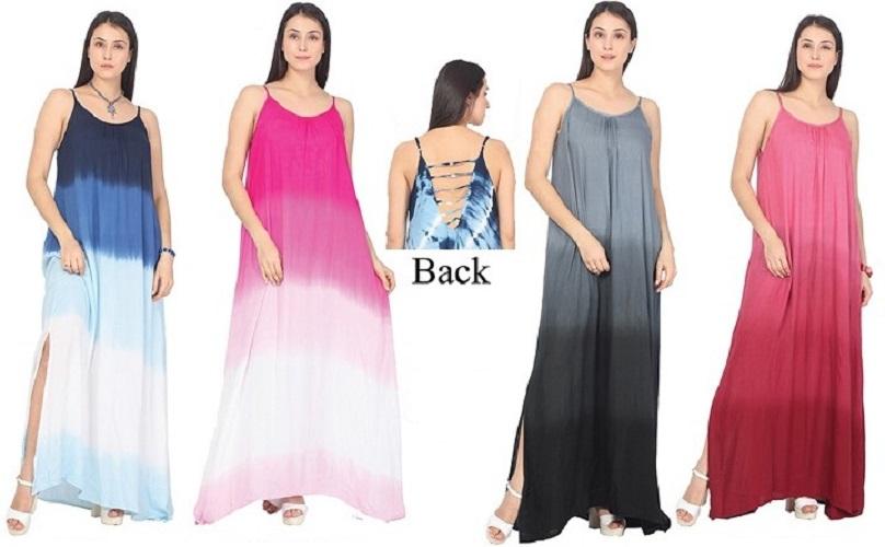 #575-5310 New! Rayon Maxi TIE DYE Sundress - Size S-XL $8.75 each (12 Pieces)