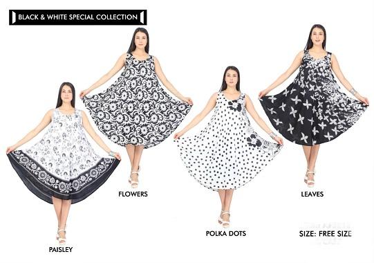 #575-5513XX Plus Size Black & White Rayon DRESS 1X-2X-3X - $7.00 each(12 pieces)