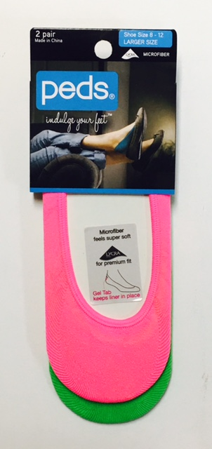 #6-9338 Peds Womens Microfiber Liner Sock SHOE Size 8-12 - $1.00/2 pk(30 packs)