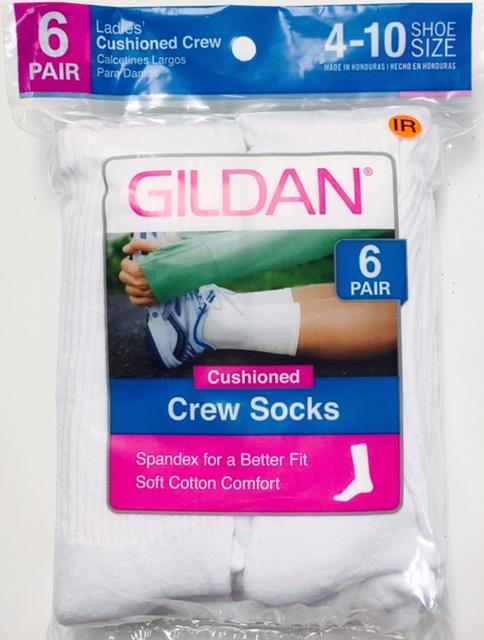 #6-642-C NEW! 'Gildan' Cushion Crew Socks - $1.50 per pack of 6(20 packs)