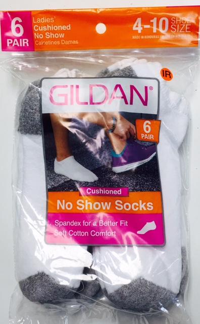 #6-642-NS NEW! 'Gildan' No Show Socks - $1.50 per pack of 6(20 packs)