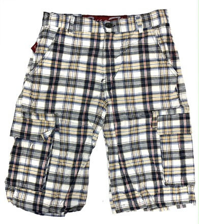 #646-KC Boy?s Youth Plaid CARGO SHORTS - $4.00 each(13 pieces)