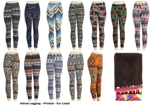 Womens Fur Lined Printed Leggings #740P 