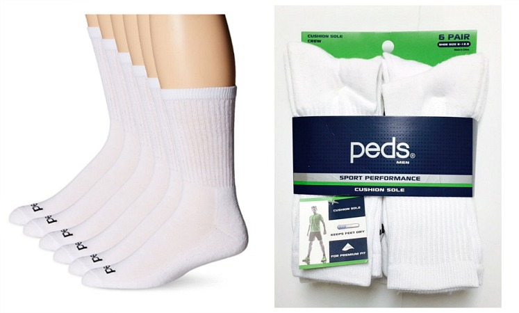 #9-5731 PEDS Crew SOCKS with Coolmax(White or Black) - $4.00/pack of 6(10 packs)