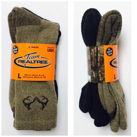 #9-946-C NEW! 'REALTREE' Cotton Hiker Socks - $2.00 per pack of 2(30 packs