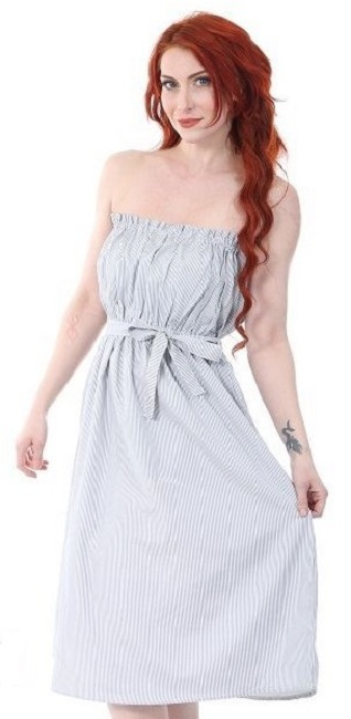 #575-1494 Cotton Striped Short DRESS S-XL - $7.10 each (12 pcs)