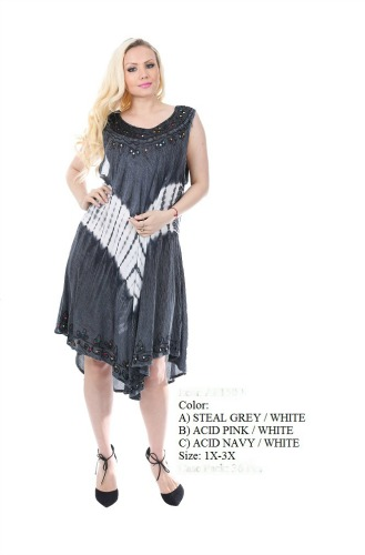 575-1509XX New! Rayon Plus Size Acid Wash Dress - $7.50 each(12 pieces)