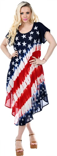 #575-1566 REDUCED! American Flag Rayon DRESS - $5.50 (12 pieces)