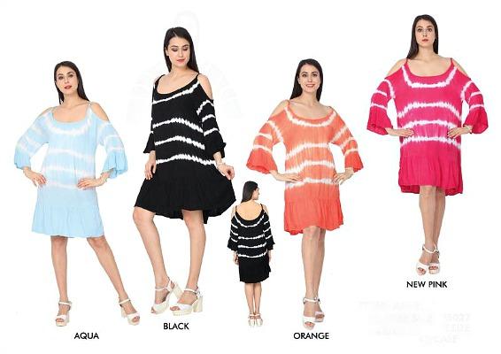 #575-5027 Rayon Cold Shoulder Tie Dye DRESS - $6.25 each (12 pieces)