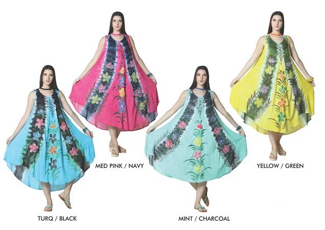 #5533-DS Rayon Crape Tie Dye Brush Paint DRESS - $6.00 each (24 pieces)