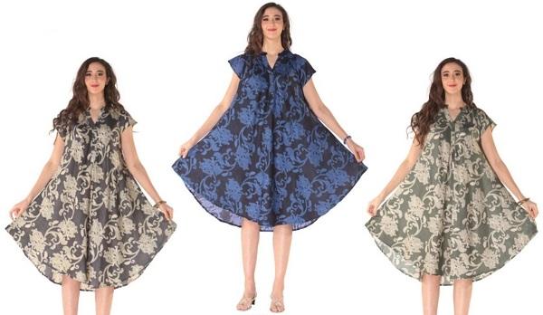 #575-5554XX Short Sleeve Plus Size Printed DRESS 1X-3X - $7.50 each (12 pcs)